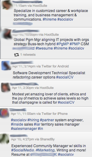 A whole bunch of tweets where people try to write 140-character resumes.